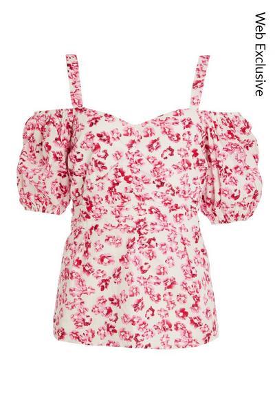 Pink Floral Cold Shoulder Top